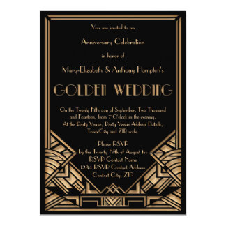 """Aniversario de boda de oro de Gatsby del art déco Invitación 5"""" X 7"""""""