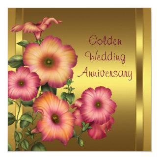 """Aniversario de boda de oro de las petunias del oro invitación 5.25"""" x 5.25"""""""