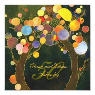 """Aniversario de boda de oro de los árboles de amor invitación 5.25"""" x 5.25"""""""