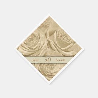 Aniversario de boda de oro de los rosas de Champán Servilleta De Papel