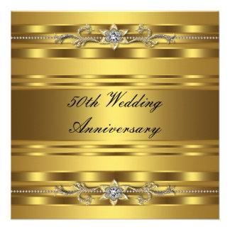 Aniversario de boda de oro del oro elegante 50 o invitaciones personalizada