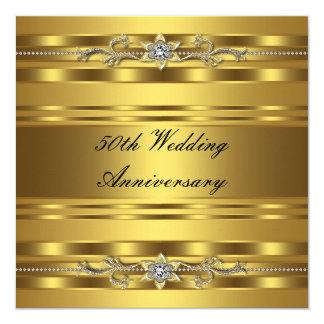 """Aniversario de boda de oro del oro elegante 50.o invitación 5.25"""" x 5.25"""""""