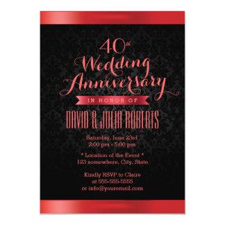 """Aniversario de boda de rubíes del damasco negro invitación 5"""" x 7"""""""
