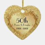 Aniversario de boda del corazón 50.o del oro de la ornamentos para reyes magos