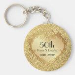 Aniversario de boda del corazón 50.o del oro de la llaveros personalizados
