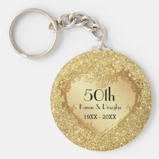 Aniversario de boda del corazón 50.o del oro de la llavero redondo tipo pin
