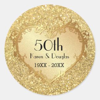 Aniversario de boda del corazón 50 o del oro de la