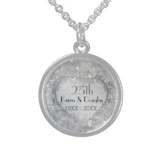Aniversario de boda del corazón de plata de la collar de plata esterlina