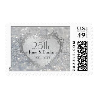 Aniversario de boda del corazón de plata de la timbre postal