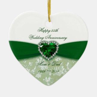 Aniversario de boda del damasco 55.o adorno navideño de cerámica en forma de corazón