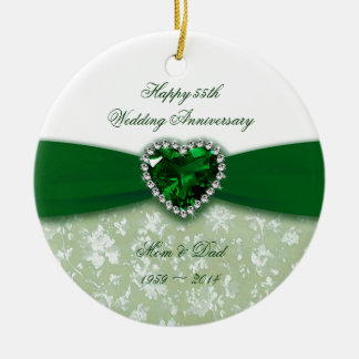 Aniversario de boda del damasco 55.o adorno navideño redondo de cerámica