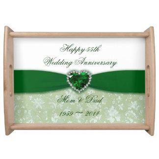 Aniversario de boda del damasco 55.o bandeja