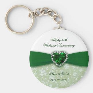 Aniversario de boda del damasco 55.o llaveros