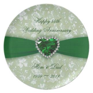 Aniversario de boda del damasco 55.o platos