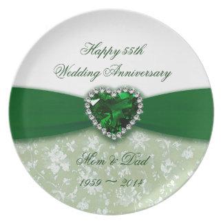 Aniversario de boda del damasco 55.o plato