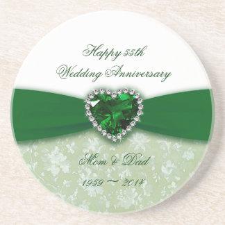 Aniversario de boda del damasco 55.o posavasos manualidades