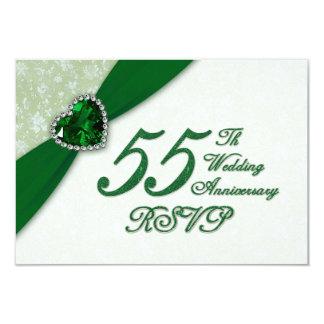 """Aniversario de boda del damasco 55.o RSVP Invitación 3.5"""" X 5"""""""