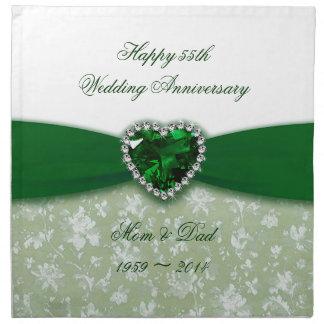 Aniversario de boda del damasco 55.o servilleta
