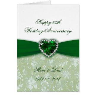 Aniversario de boda del damasco 55.o felicitaciones