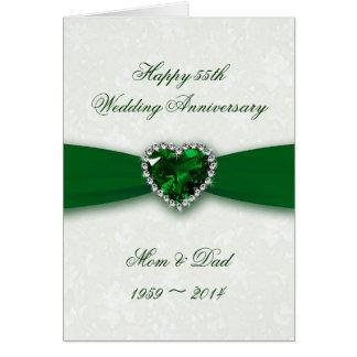 Aniversario de boda del damasco 55.o tarjeta