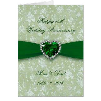 Aniversario de boda del damasco 55.o tarjeta de felicitación