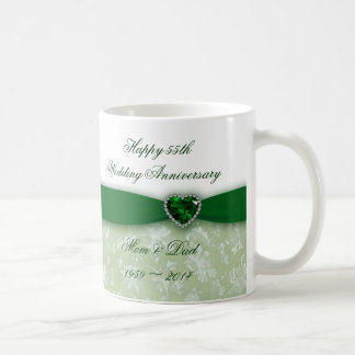 Aniversario de boda del damasco 55.o taza clásica