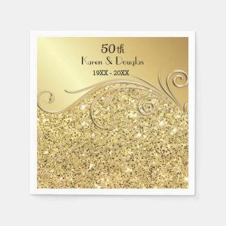 Aniversario de boda del oro 50.o de la chispa servilleta de papel