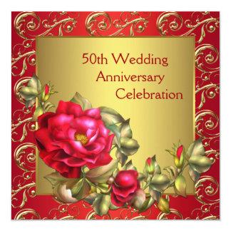 """Aniversario de boda del oro 50.o de los rosas invitación 5.25"""" x 5.25"""""""