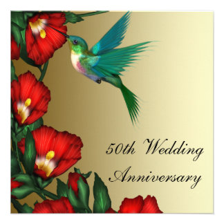 Aniversario de boda del oro 50 o del hibisco del c invitación personalizada