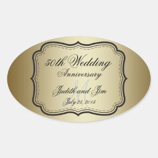 Aniversario de boda del oro 50.o calcomanías de ovales