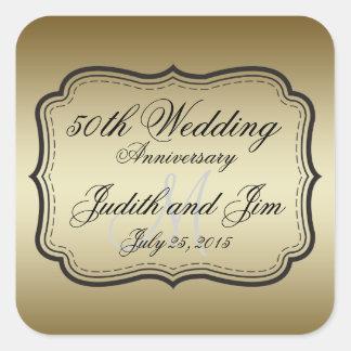 Aniversario de boda del oro 50 o calcomanía cuadrada personalizada