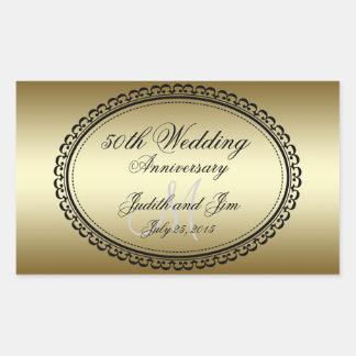 Aniversario de boda del oro 50.o rectangular altavoz