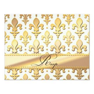 Aniversario de boda del oro de RSVP, flor de lis Invitación 10,8 X 13,9 Cm