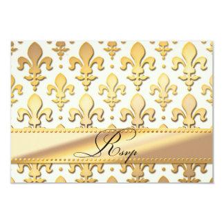 """Aniversario de boda del oro de RSVP, flor de lis Invitación 3.5"""" X 5"""""""