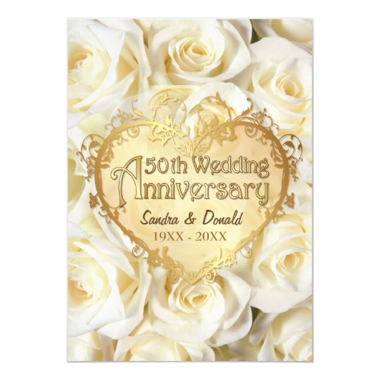"""Aniversario de boda del rosa blanco 50.o invitación 5"""" x 7"""""""