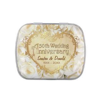 Aniversario de boda del rosa blanco 50.o - latas de caramelos