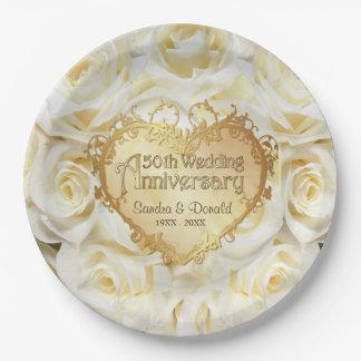Aniversario de boda del rosa blanco 50.o platos de papel