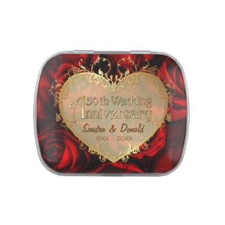 Aniversario de boda del rosa rojo 50.o - jarrones de caramelos