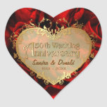Aniversario de boda del rosa rojo 50.o colcomanias corazon personalizadas