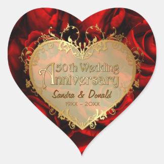 Aniversario de boda del rosa rojo 50 o colcomanias corazon personalizadas