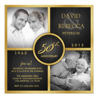 Aniversario de boda elegante del negro y del oro 5 comunicados personalizados