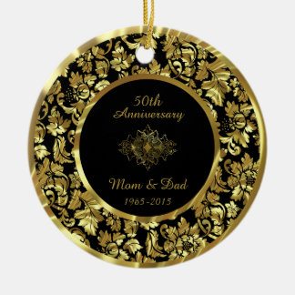 Aniversario de boda elegante del negro y del oro adorno navideño redondo de cerámica