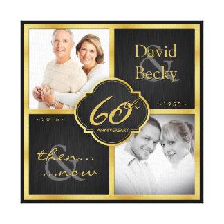 Aniversario de boda elegante del negro y del oro impresión en lona estirada
