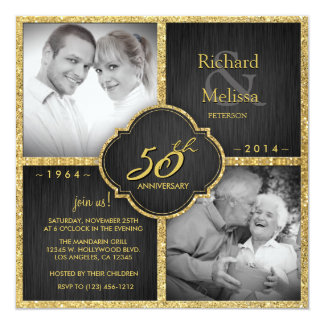 """Aniversario de boda elegante del negro y del oro invitación 5.25"""" x 5.25"""""""