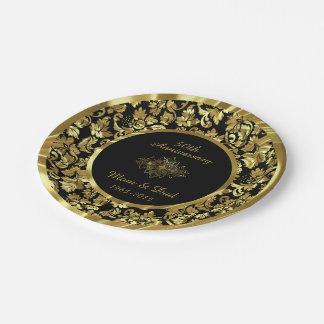 Aniversario de boda elegante del negro y del oro platos de papel