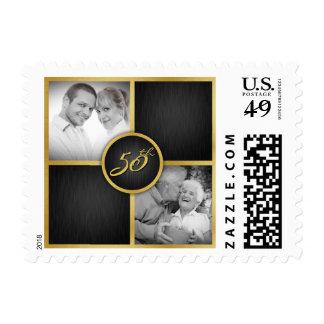 Aniversario de boda elegante del negro y del oro timbre postal