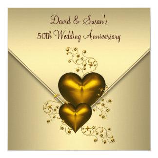 Aniversario de boda elegante del oro 50.o de los invitaciones personales