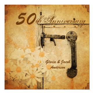 """aniversario de boda elegante del país de la invitación 5.25"""" x 5.25"""""""