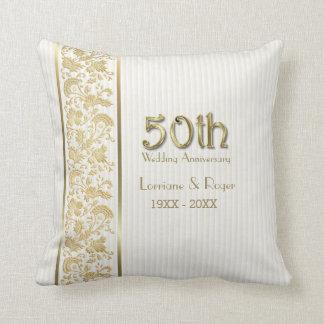 Aniversario de boda floral de la elegancia 50.a cojín