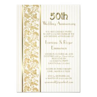 """Aniversario de boda floral de la elegancia 50.a invitación 4.5"""" x 6.25"""""""